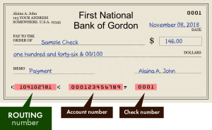 First National Bank Of Gordon routing number